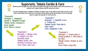 Supersets, tabata cardio & core workout