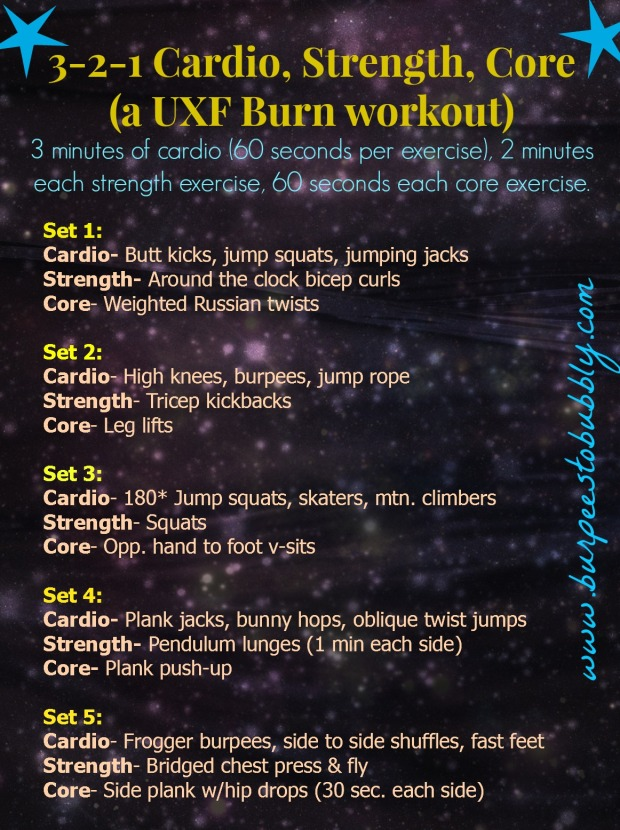 3,2,1 cardio, strength, core workout