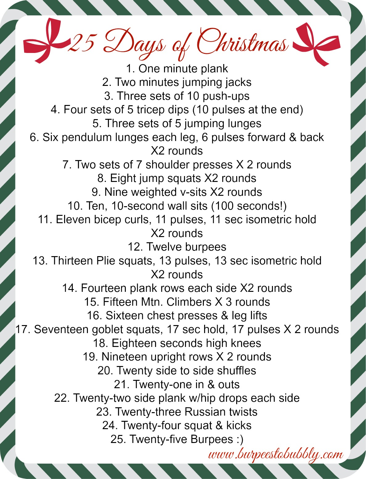 Workout Calendar Ideas : Friday things a days of christmas workout burpees