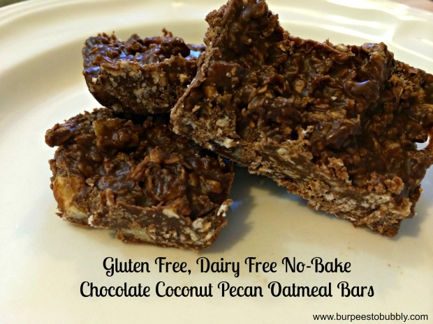 GF, DF no bake chocolate coconut pecan oatmeal bars