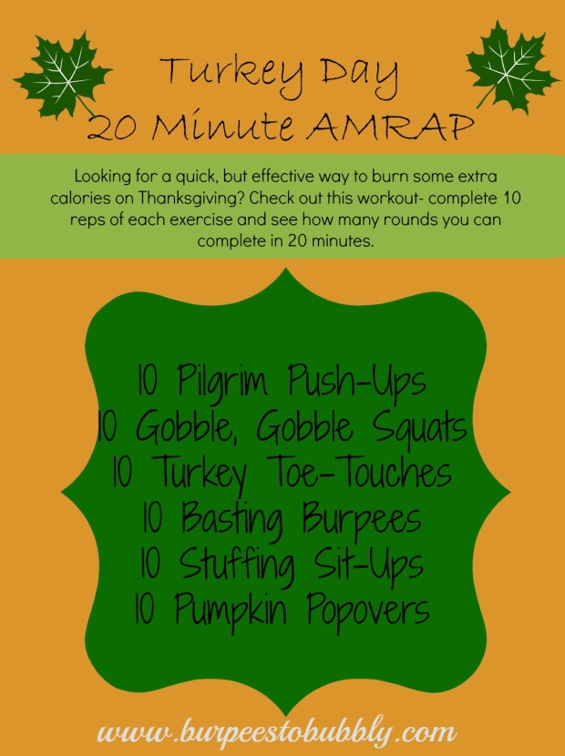Turkey day 20 minute AMRAP workout