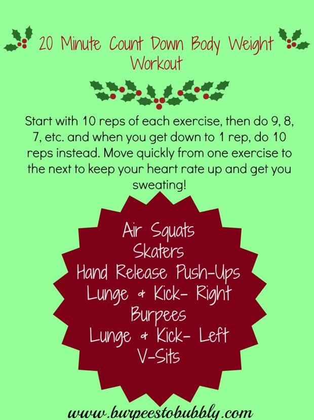20 minute count down workout
