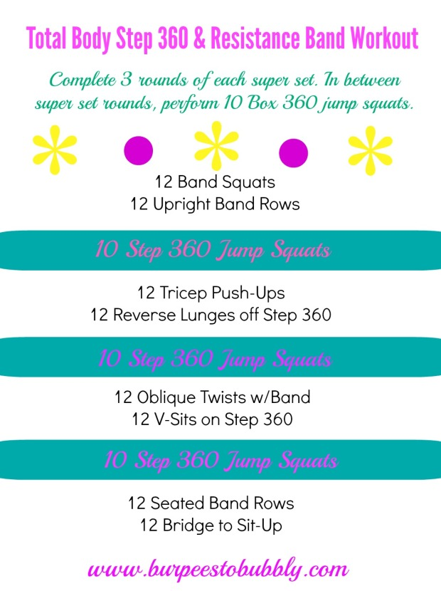 Total body step 360  & resistance band workout