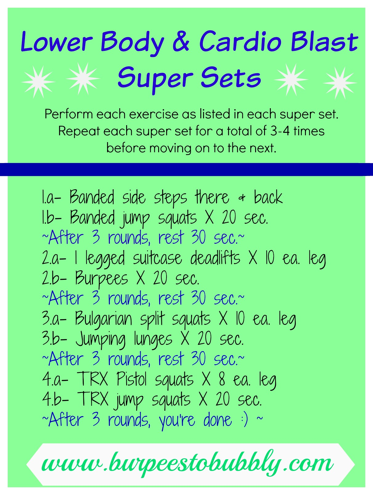 Wednesday Workout Lower Body Cardio Blast Super Sets