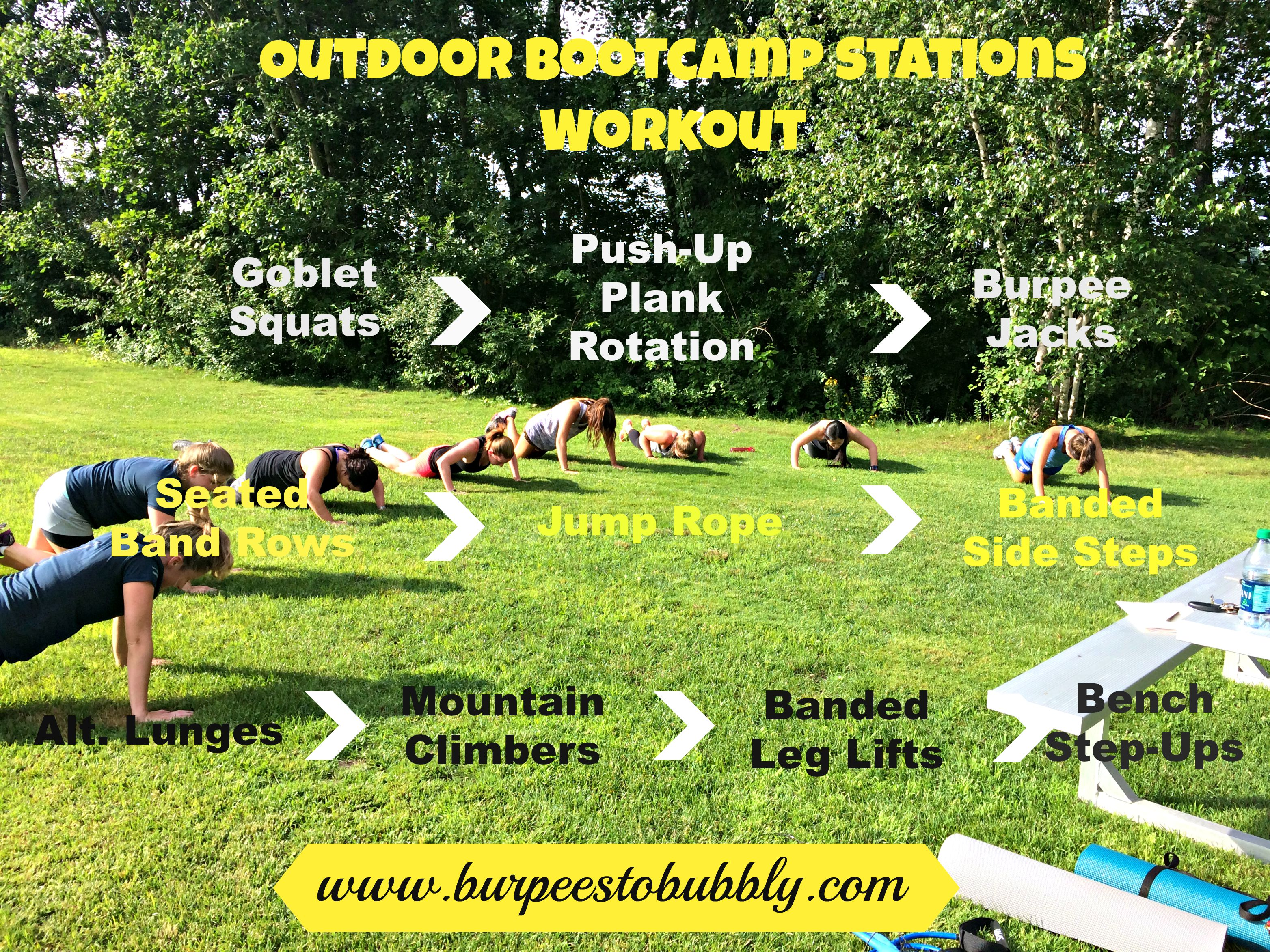 wednesday workout: outdoor bootcamp stations workout – burpees to bubbly