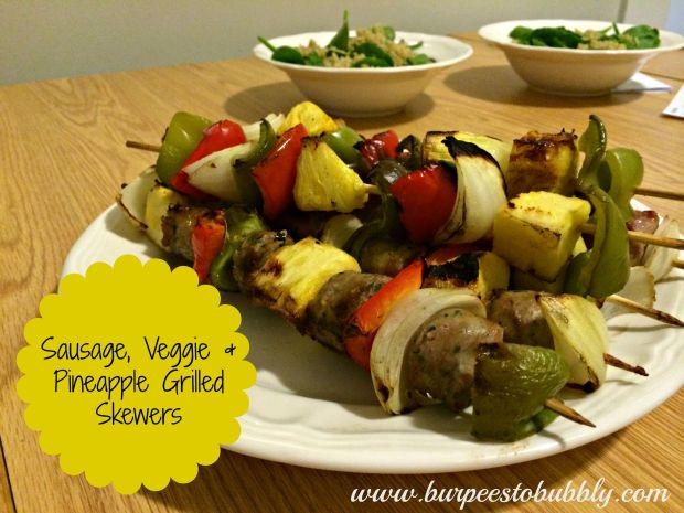 sausage, veggie & pineapple grilled skewers