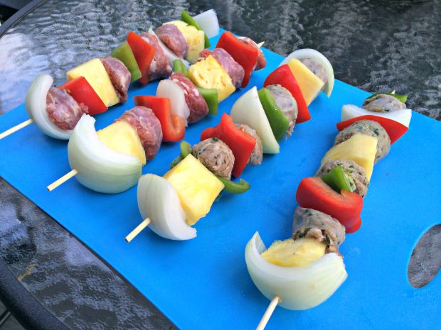 sausage, veggie & pineapple skewers 1