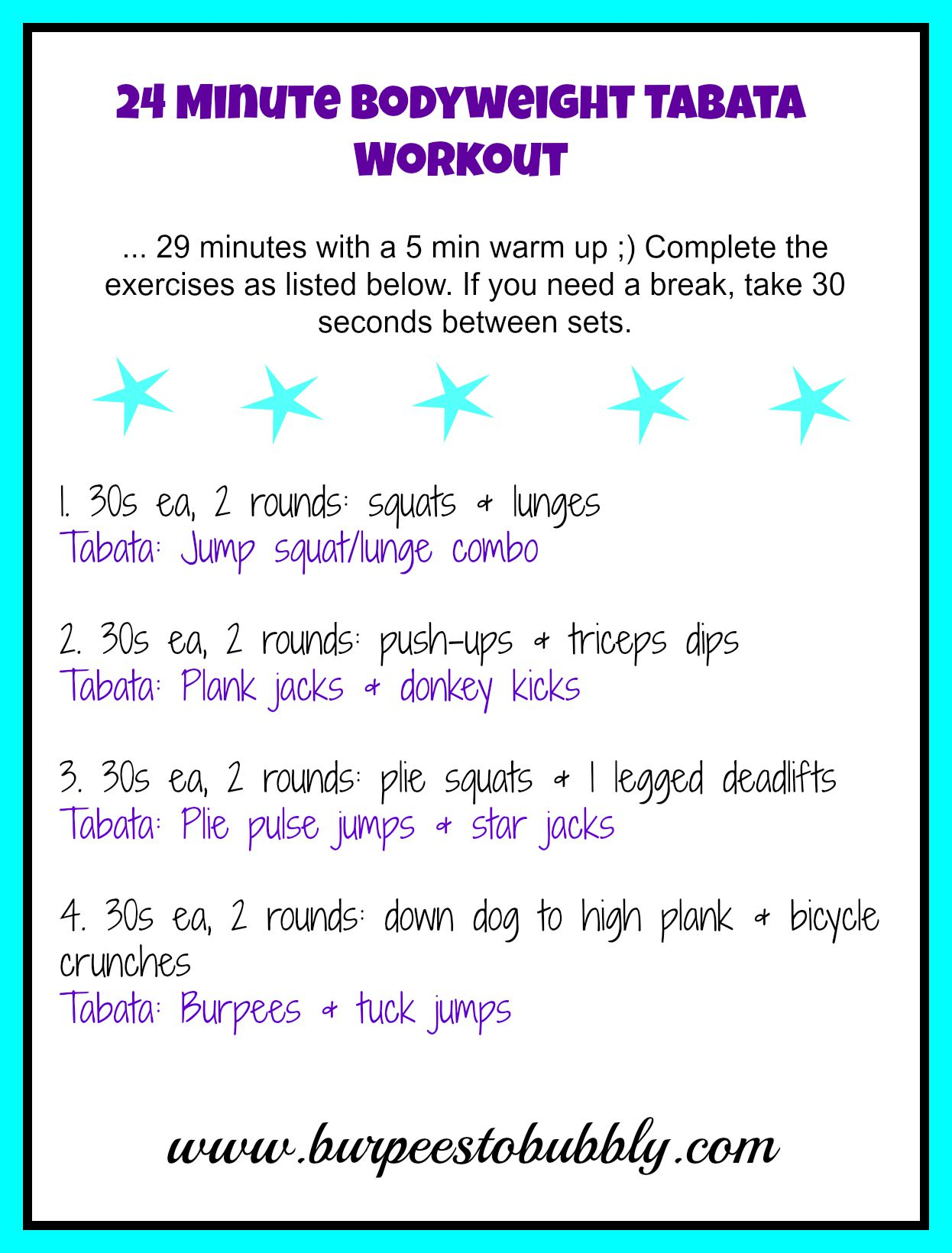 Wednesday Workout: 24 Minute Bodyweight Tabata Workout