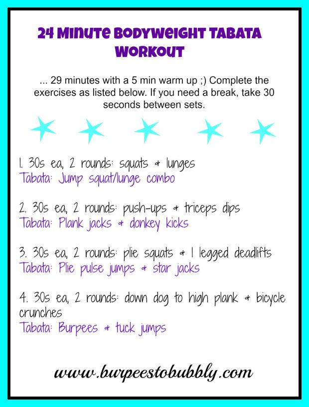 24 minute bodyweight tabata workout
