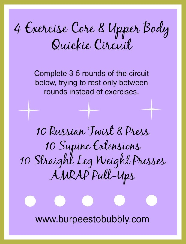 4 exercise core & upper body quickie circuit