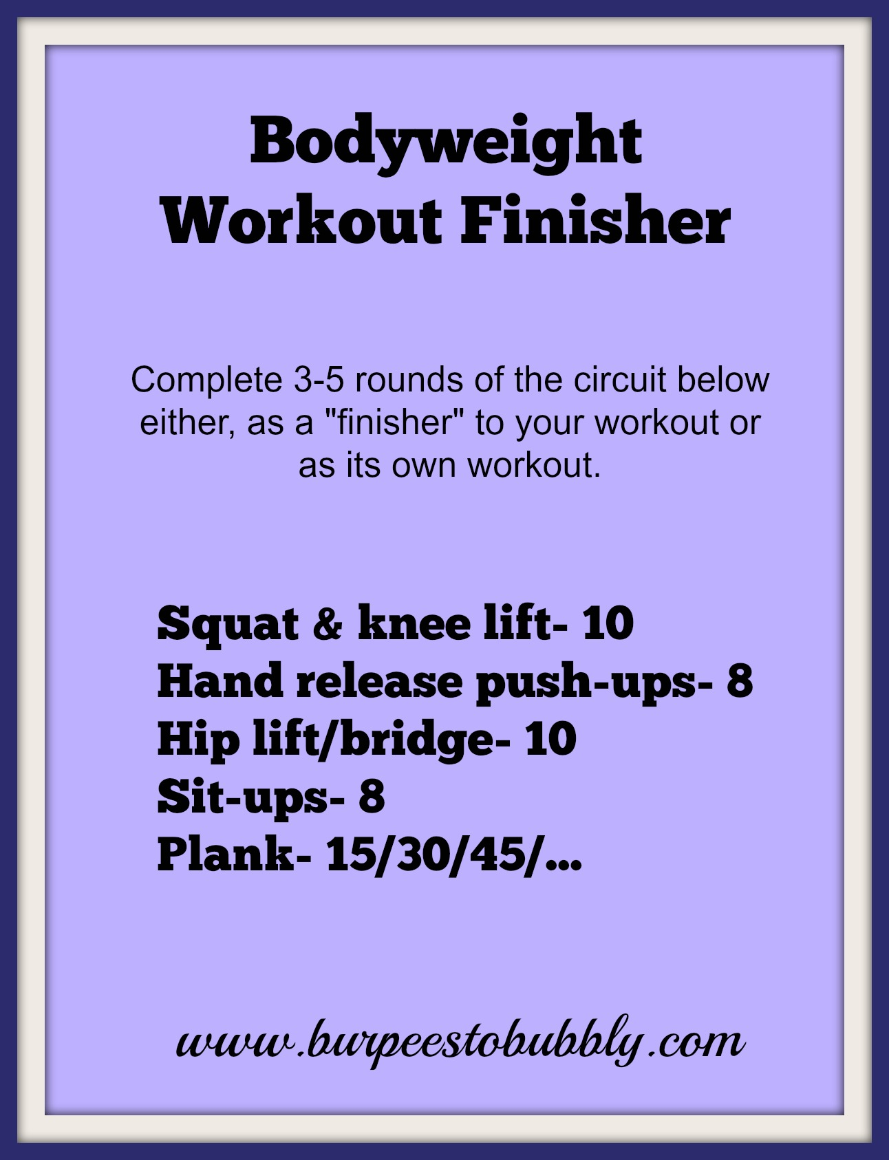 Wednesday Workout Bodyweight Finisher