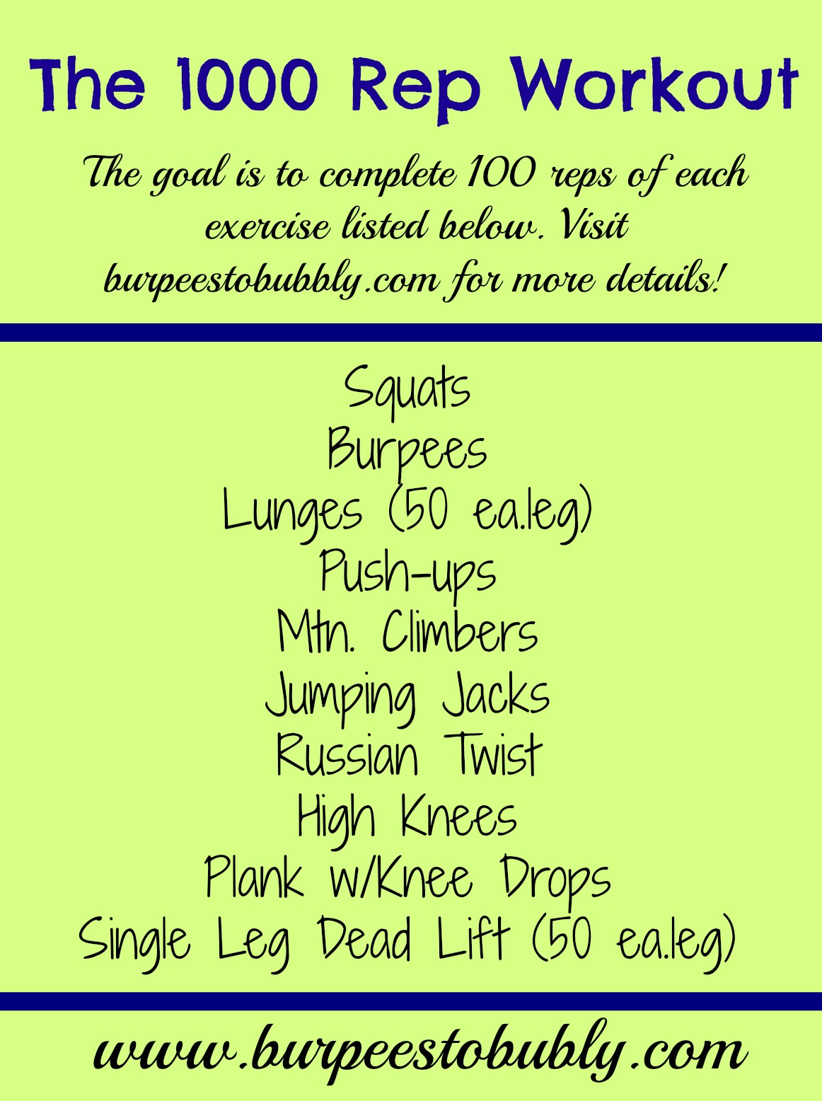 Wednesday Workout: The 1000 Rep Workout – Burpees to Bubbly