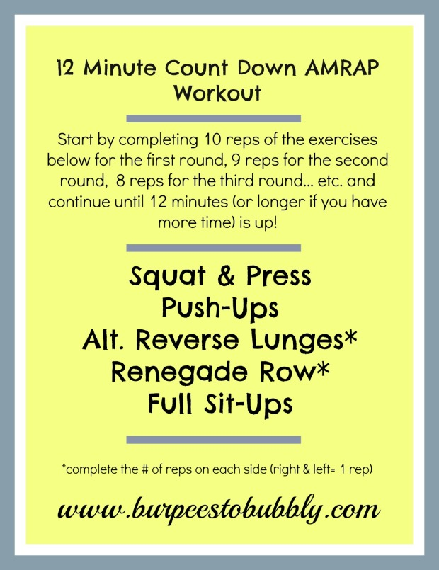 12 Minute Count Down AMRAP Workout