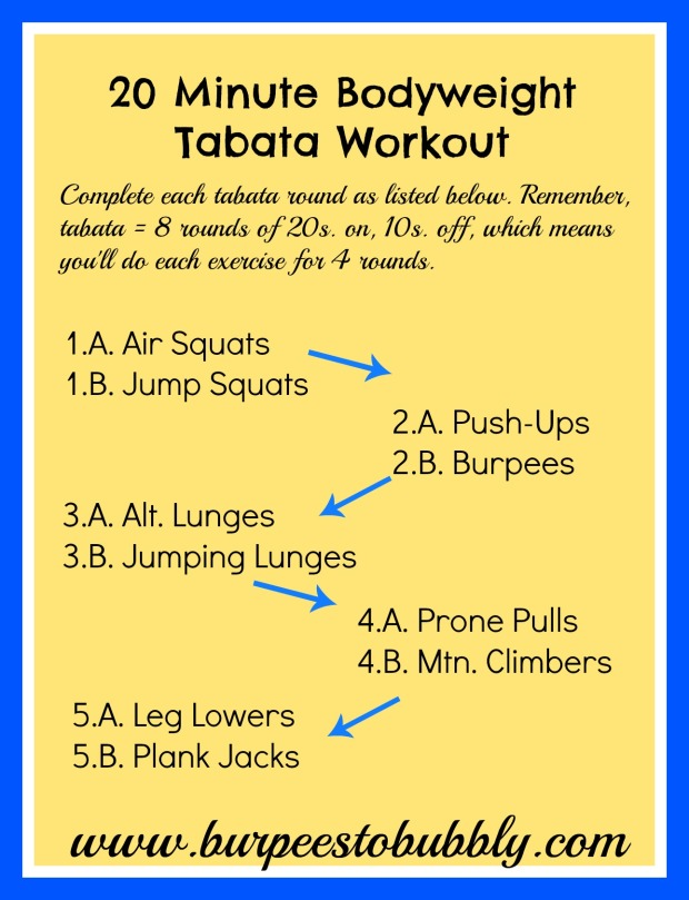 20 Minute Bodyweight Tabata Workout