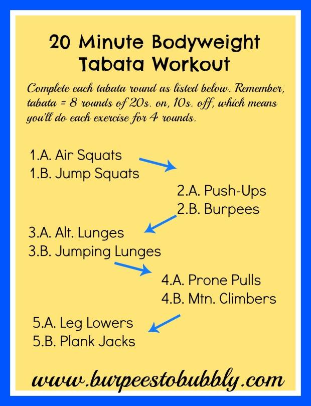20 Minute Bodyweight Tabata Workout