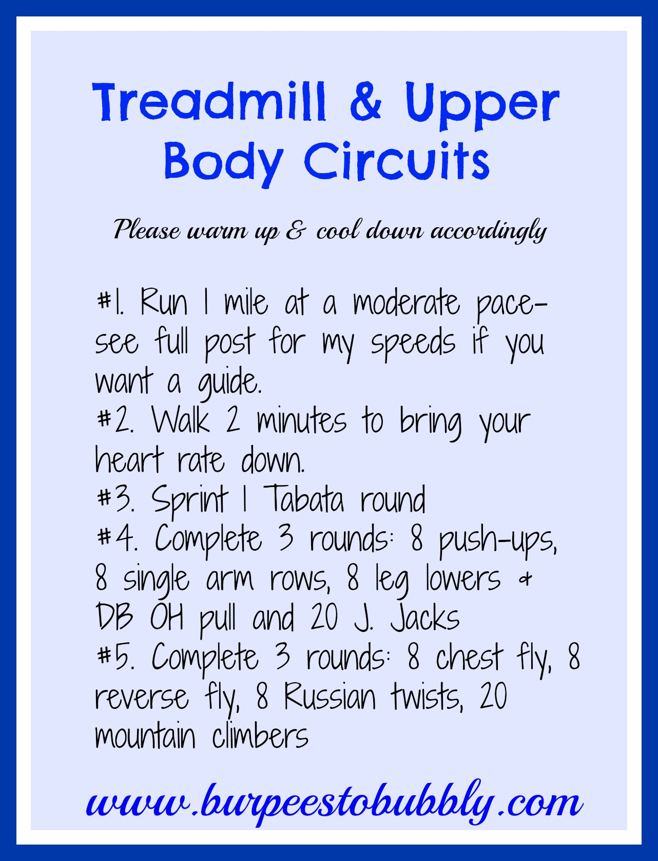 Wednesday Workout: Treadmill & 2 Upper Body Circuits